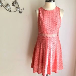 MIAMI Peach Lace Sleeveless Dress Fit and Flare